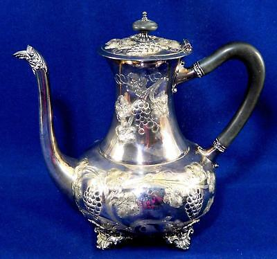Antique Victorian Silver plated Coffee Pot Chased & Repousse Grapes Footed