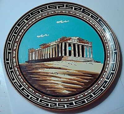 2 Vintage Greek Copper Wall Hanging Plate(s) Hand Made Painted -Greece Parthenon