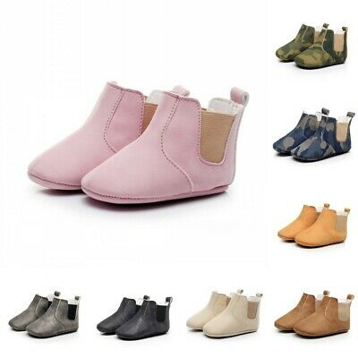 Kids Baby Faux PU Boots Shoes Infant Toddler Boy Girls Soft Soled Booties Beauty