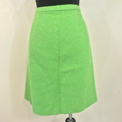VINTAGE 1960s LIME GREEN WHITE SPECKLED WOMENS PENCIL SKIRT SIZE XS MOD RETRO
