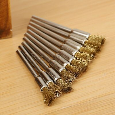 15pcs 5mm Brass Wire Brushes Wheel For Grinder Drill Rust Weld Power Rotary Tool