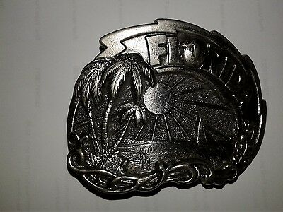 Vintage 1980 Florida Pewter Belt Buckle The Great American Chicago Buckle Comp