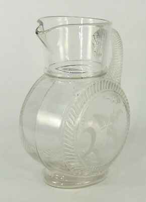 Antique mid 1800's Mold Blown Clear Glass Pitcher Swirled Handle Etched Flowers