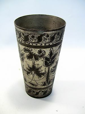 "~ Antique INDO-PERSIAN Silvered Brass Tumbler Vase 5.75"" Hand Tooled Cup #4"