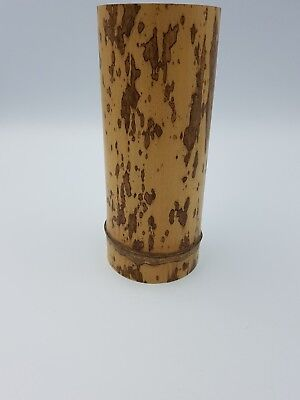 Chinese Bamboo Wooden Hand Carved Cylinder Brush Pot Vase Ringed Base Brown Spot