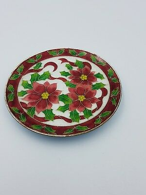 Cloisonné Enamel Small Christmas Plate Wall Plaque Poinsettia Flowers Ribbons