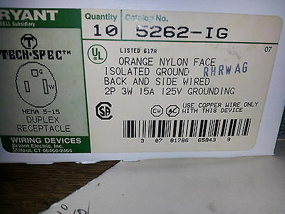 Bryant 5262-Ig Nib Lot Of 10 Orange Iso Grnd 3W 15A 125V Duplex Receptacle #B9