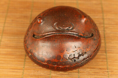 unique chinese old bamboo hand carved frog statue netsuke