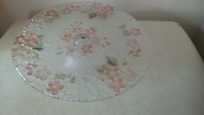 Floral Pedestal Cake Stand Pink flowers Beautiful Glass