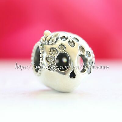 Authentic Pandora STERLING SILVER SPARKLING SKULL 797866CZ Charm
