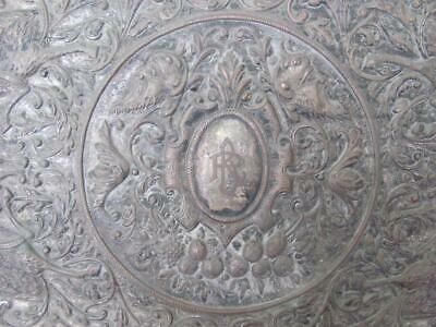 1700S Antique Large Silver Plated Engraved Marked Wall Plaque V.rare