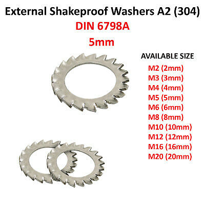 M5 - 5mm EXTERNAL TOOTH SERRATED SHAKEPROOF LOCK WASHERS A2 STAINLESS FS1516