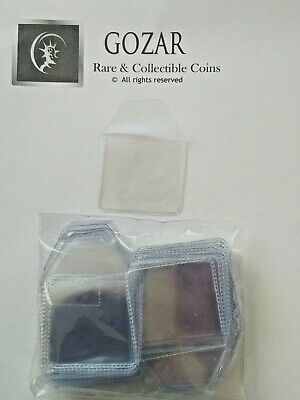 100 x plastic coin wallets 2 by 2 inch tuck in flap storage envelopes 50p £1 £2