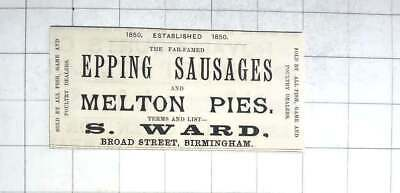 1890 Epping Sausages And Melton Pies Commerce Ward, Broad Street, Birmingham