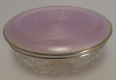David Anderson Sterling Silver and Guilloche Enamel Lidded Cut Crystal Box