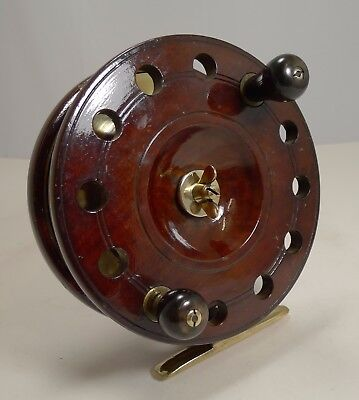 """Large 7 1/2"""" Antique English Mahogany and Brass Star-back Fishing Reel c.1910"""