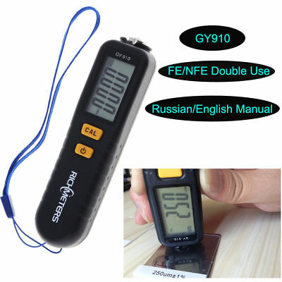 GY910 Digital Paint Coating Thickness Gauge Meter Tester Fe Nfe Calibrate Film