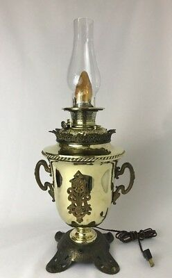 Antique Vtg Art Nouveau Deco Oil Lamp Ornate Urn Brass B&H Victorian Converted