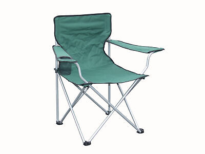 Green Folding Canvas Camping / Festival / Outdoor Chair with Arms and Cup Holder