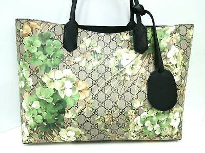 7b679e91ca9 Auth GUCCI GG Blooms Medium Reversible Leather Tote 368568 Brown PVC  Leather Bag