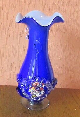 "9.50"" Cobalt Blue Glass Vase with Flared Rim and Applied Flowers."