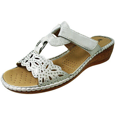 Cushion Walk Ladies White Silver Sparkly Cora Wedge Flat Wide Sandals Mules