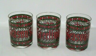 Set of 3 Vintage Season's Greetings Glasses Stained Glass Poinsetta Houze