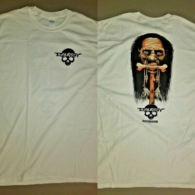 Embassy skateboards t-shirt Shrunken Head Voodoo Skull Zorlac Alva