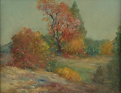 Vintage Early 20th Century Impressionist Oil Painting Landscape Scene