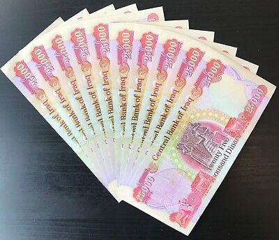 QUARTER MILLION IQD - (10) 25,000 IRAQI DINAR Notes - AUTHENTIC - FAST DELIVERY