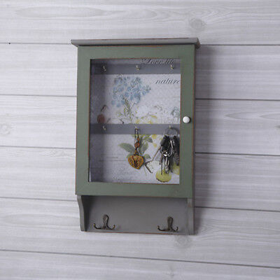 Shabby Chic Key Hook Cabinet Rustic Wood Wall Mount Organizer Hanger Green NEW