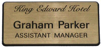 Engraved Name Badges RECTANGLE, Premium Quality, Personalised, gold, silver, etc