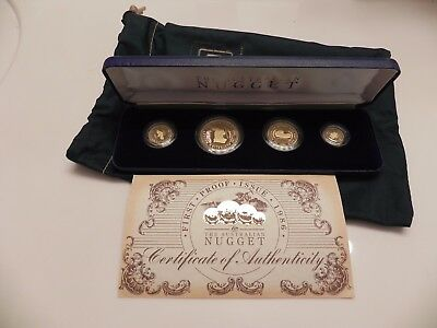 1986 Australia Nugget First Proof Issue 4 Pc. Gold Proof Set with Box & COA