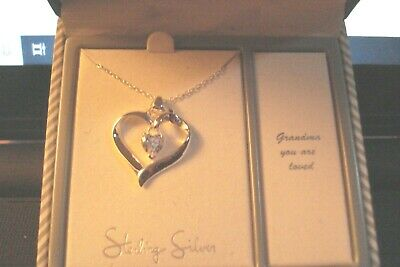 "Sterling Silver Necklace Straight from the Heart ""Grandma You Are Loved"""