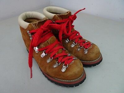 Vtg JC Penny Mountaineering Boots Ankle Red Laces Vibram Sole 1952 Brown Sz 7.5