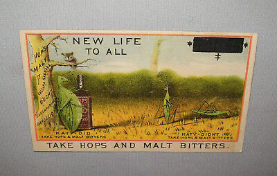 Old Antique Vtg Ca late 1800's Hops and Malt Bitters Advertising Trade Card Very