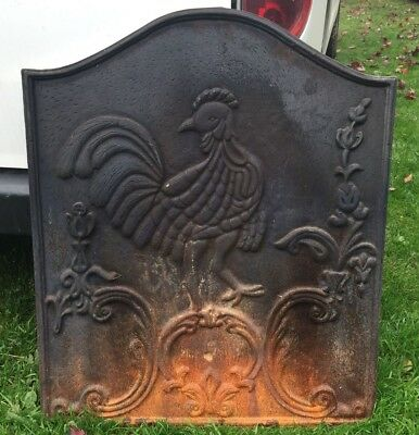 ANTIQUE COAL OR WOOD FIREPLACE CAST IRON BACKDROP PLATE 26 1/2 height 22 1/2 W