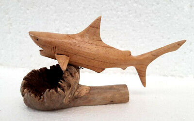 Unusual Hand Carved Great White Shark on Parasite Wood Bali Shark Carving 16cm