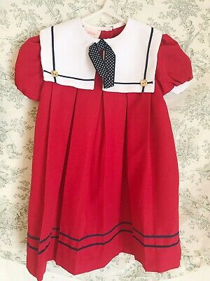 099edd6d74db Vintage Red Sailor Dress Toddler 4T Collar Little Precious Puff Sleeves  Easter