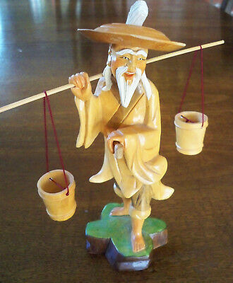 Vintage Hand Carved Wooden Statue Old Chinese Man Water Carrier Bucket Figurine