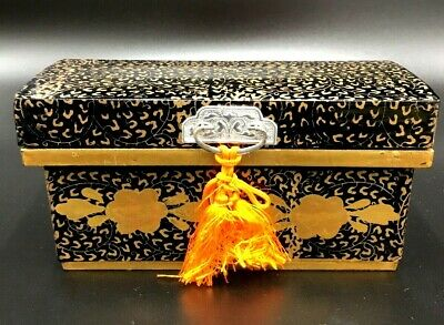 .00Japanese Hina Doll Lacquer ware Miniature Furniture Vtg Chest Box Wooden