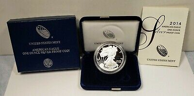 2014 United States American Eagle 1 Oz Silver Coin Proof With Case, Box and COA