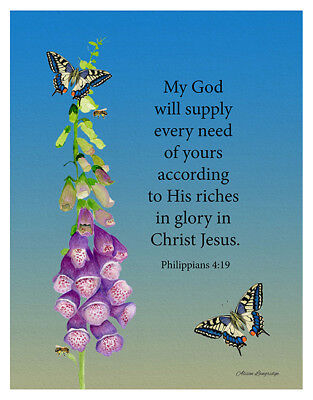 19 Signed Limited Edition Watercolor Artwork A6 Bible Verse Philippians 4