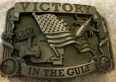 *NEW*  VINTAGE 1990s **VICTORY IN THE GULF** DESERT STORM PEWTER BELT BUCKLE