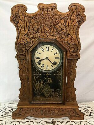 Antique Vtg Art Nouveau Clock Sessions Kitchen Mantle 8Day Shelf Oak Gingerbread