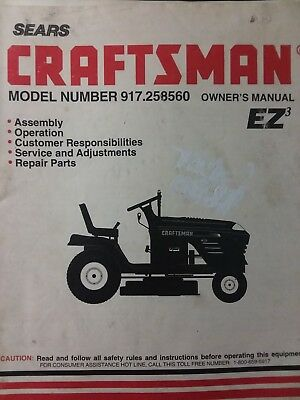 SEARS CRAFTSMAN RIDING Lawn 19hp Tractor & Mower Owner & Parts Manual  917 258560