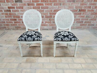 Pair of Vintage French Louis XVI Newly UpholsteredCane Back White Accent Chairs