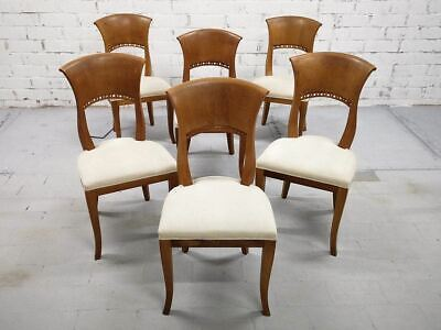 Set of 6 French Oak Early 20th-century Reupholstered White Art Deco Dining Chair