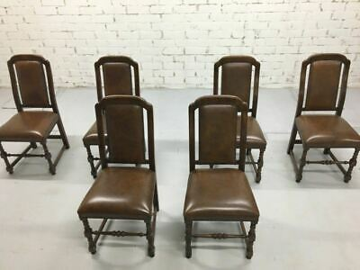 Set of 6 1980s Vintage Jacobean Spanish Style Brown Faux Leather Dining Chairs