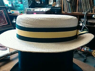 olney straw boater with blue and yellow ribbon size 55